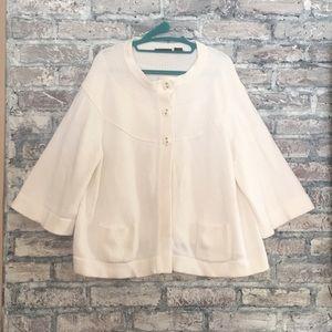 100% cotton white sweater/3 big button accent